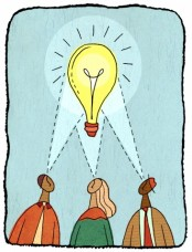 Business people having a bright idea