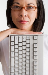 Woman with Computer Keyboard
